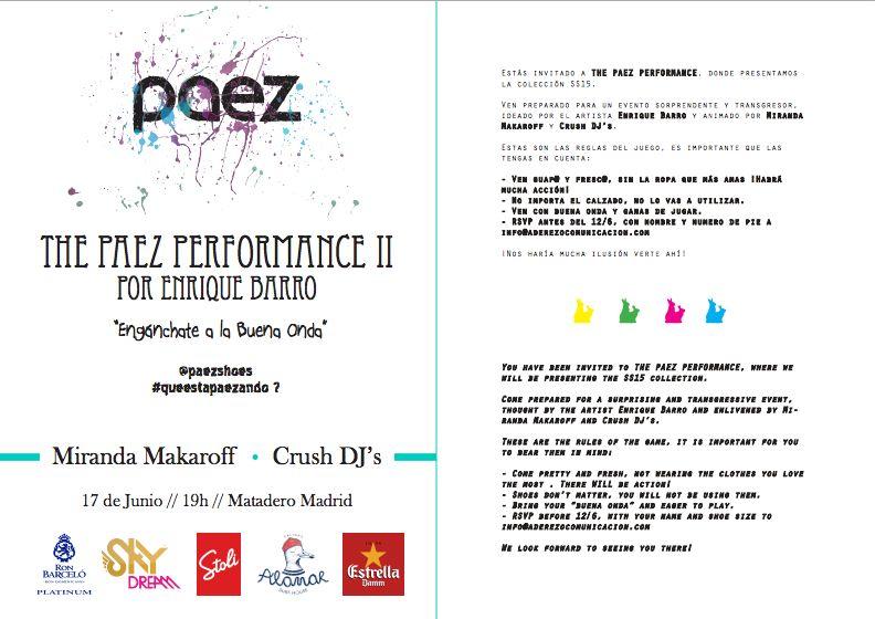 Invitación a la II Performance que organizó la firma Paez