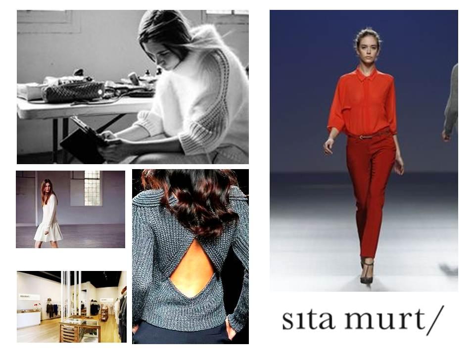 """Sita Murt ha sido calificada como """"la dama del punto"""". En las imágenes se pueden ver diferentes fotografías de su página web con la actual colección de invierno, y apariciones de la última pasarela Cibeles"""