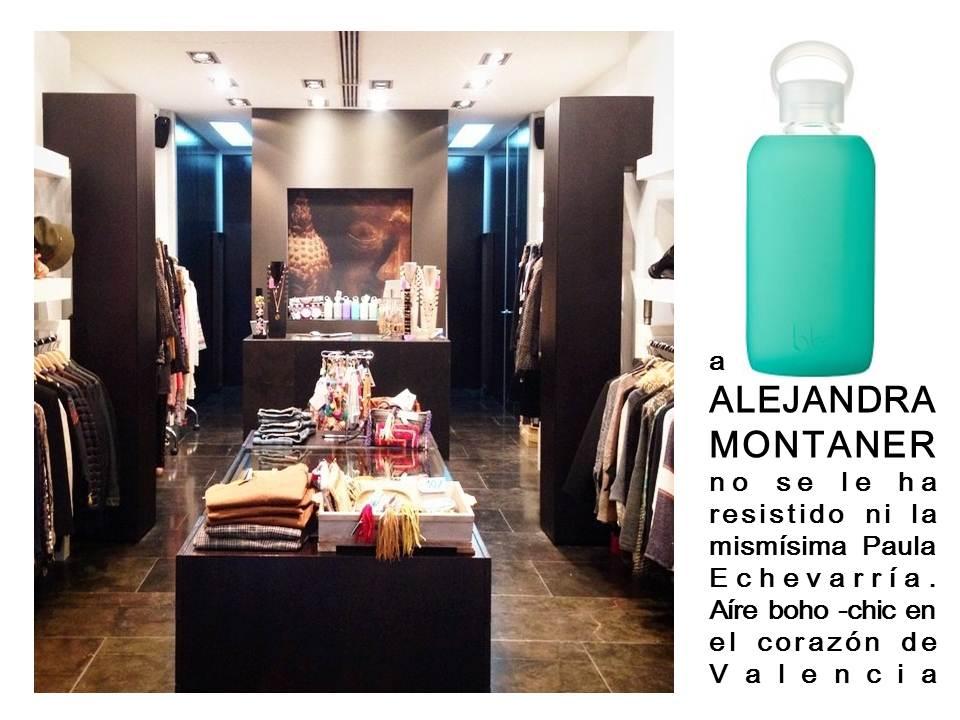 La botella de cristal y acabado de silicona  disponoble en web y tienda www.alejandramontaner.com